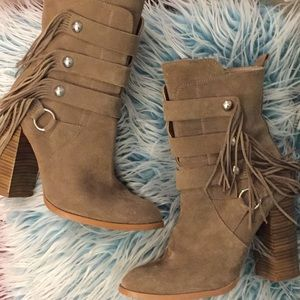 Zara Fringe Suede Boots